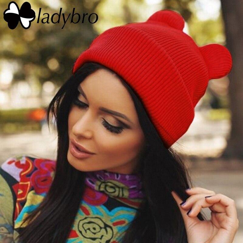 Ladybro invierno de punto lindo sombrero skullies Beanie casquillo del oído  de gato de las mujeres dama de la moda femenina caliente sombrero Sombrero  ... 0a800bdbafc