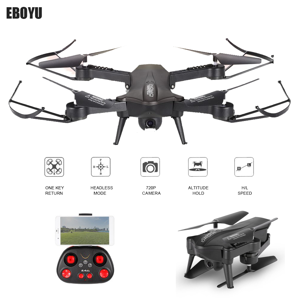 EBOYU 720P 120 Degree FOV Wide Angle HD Camera Foldable Selfie Drone Height Hold RC Quadcopter WiFi FPV Drone RTF-BlackEBOYU 720P 120 Degree FOV Wide Angle HD Camera Foldable Selfie Drone Height Hold RC Quadcopter WiFi FPV Drone RTF-Black