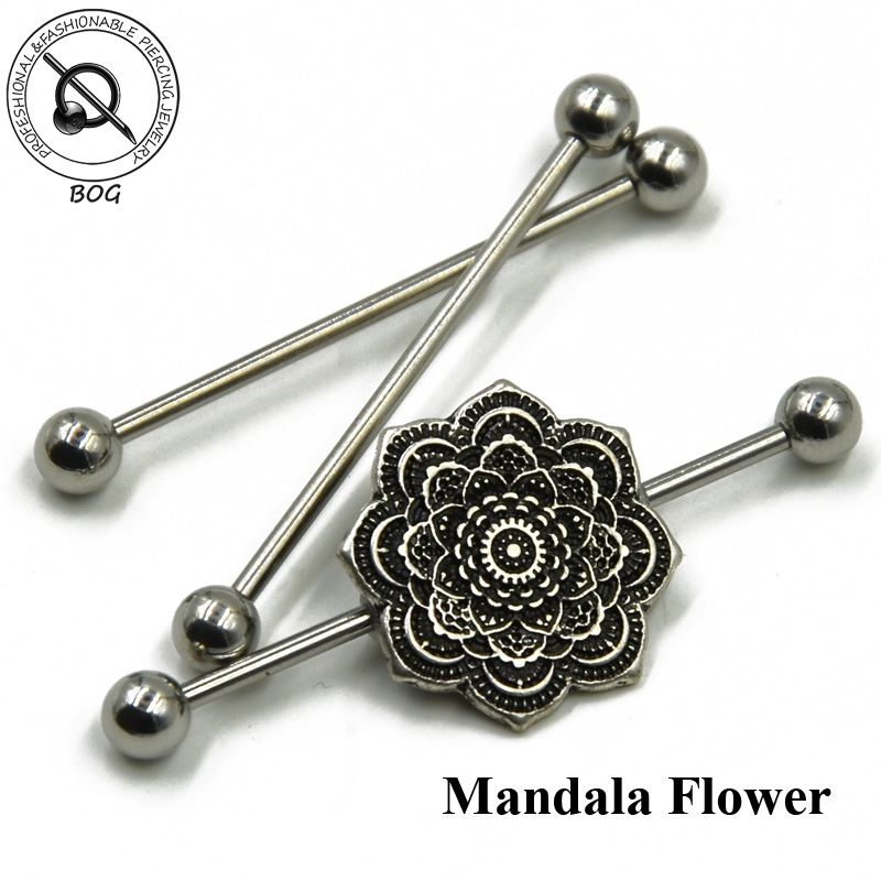 Mandala Flower Ear Industrial Piercing With 3pcs Stainless Steel Barbells Scaffold Ear Cartilage Helix Body Jewelry body jewelry