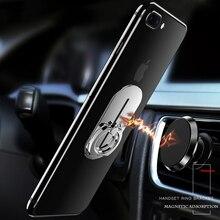 Universal Finger Ring Mobile Phone Holder 360 Rotatable Slide Rail Magnetic Car Grip Metal Magnet Air Vent Stand