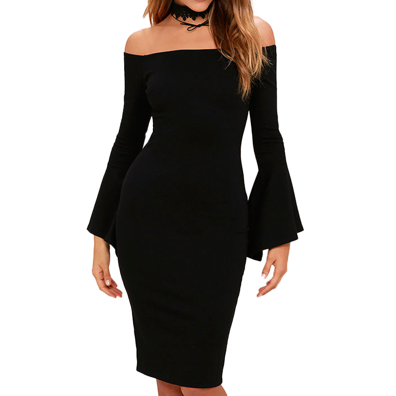 5e855dd249645 KIMILILY Elegant Flare Sleeve Dress Women Sexy Vintage Slash Neck ...