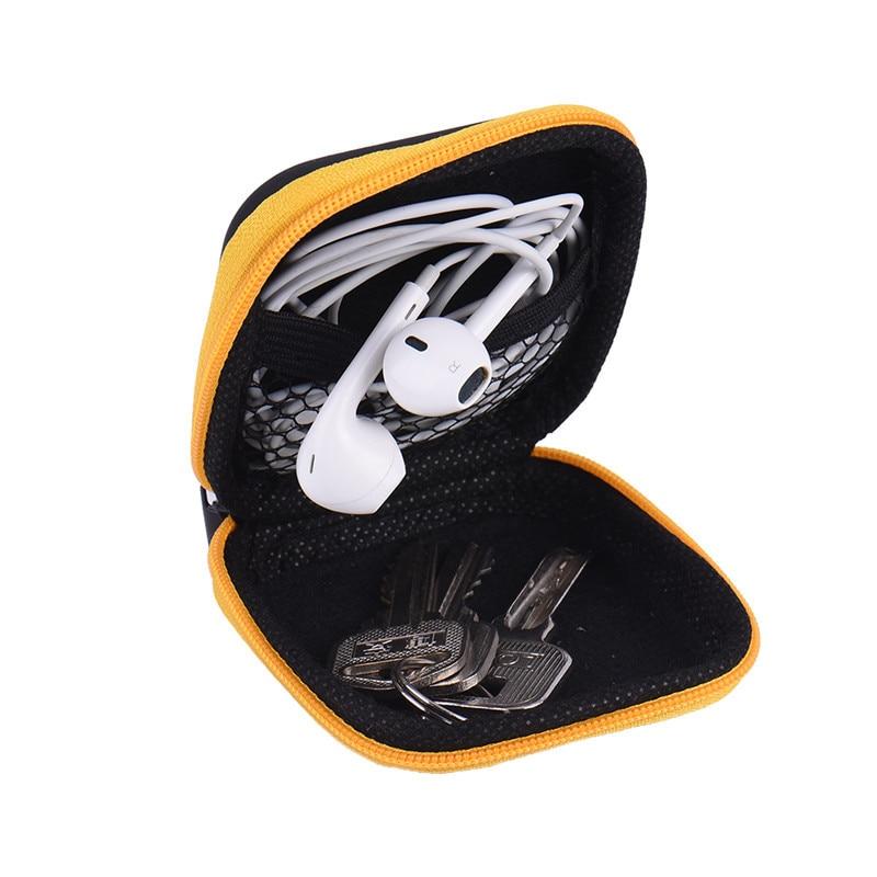 Горячая мини-молния Жесткий Чехол для наушников Портативный чехол для наушников PU кожаная сумка для хранения наушников Защитный USB кабель Органайзер