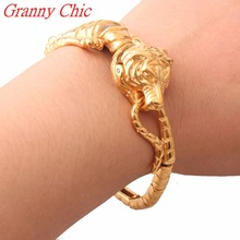 Granny Chic Punk Gothic Men's 21CM Chain Bracelet Casting 316L Titanium Stainless Steel Tiger Gold Tone Bracelets Men Jewelry