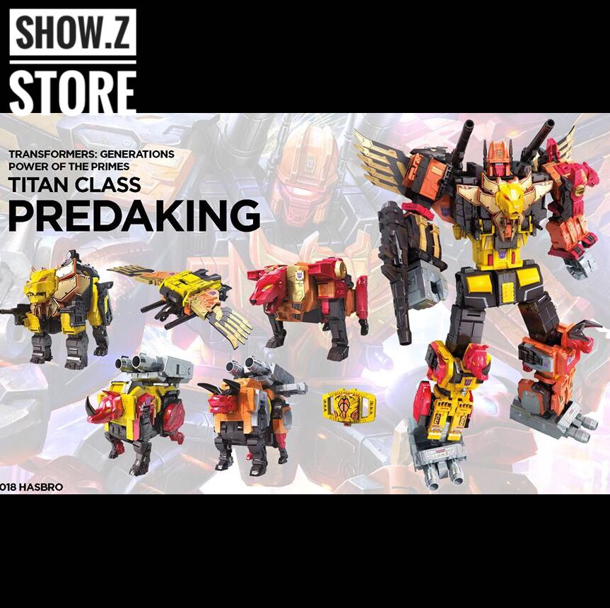 [Show.Z Store] Original POTP Titan Class Predaking Feral Rex Set of 5 Figures Transformation Action Figure mr froger carcharodon megalodon model giant tooth shark sphyrna aquatic creatures wild animals zoo modeling plastic sea lift toy