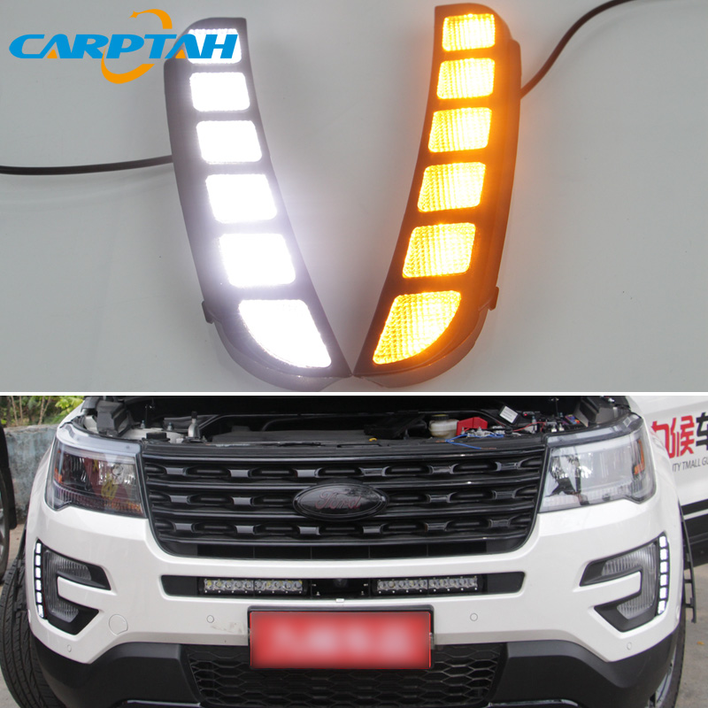 LED Daytime Running Light For Ford Explorer 2016 2017 Waterproof 12V Yellow Turn Signal Indicator Light