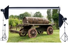 Mùa Xuân Phông Nền Mộc Mạc Countyard Vintage Gỗ Cũ Nông Trại Xe Cây Nho Đúc Rừng Rừng Cỏ Xanh Nền