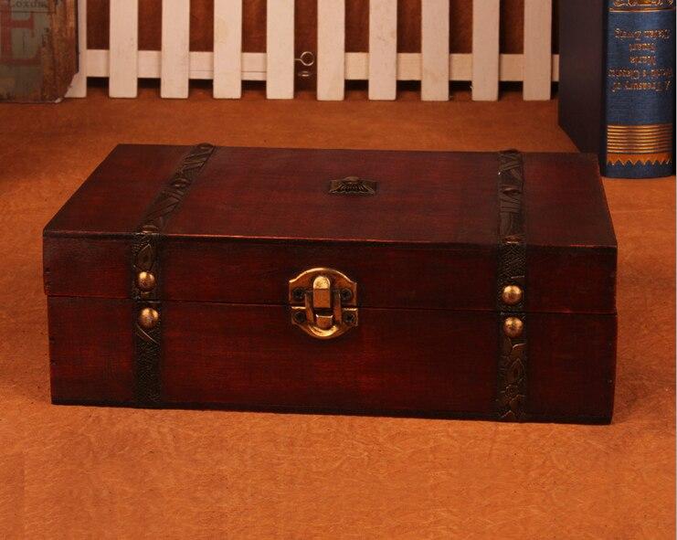Шкатулка Новый Ретро замок хранения деревянный ящик красивая коробка для хранения Подставки для фотографий подарки Чехол 23x16x7.5 см