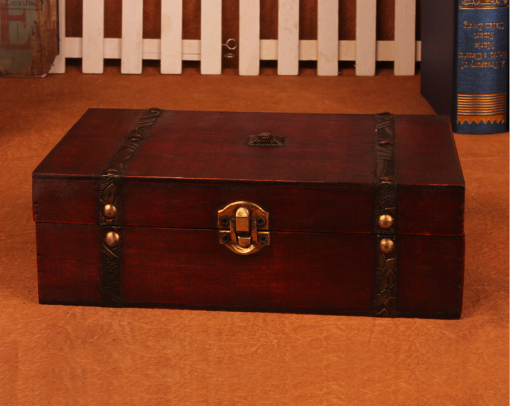 Jewelry Box New Retro Lock Storage Box Wooden Box Beautiful Storage Box Photography Props Gifts Cases 23X16X7.5cm