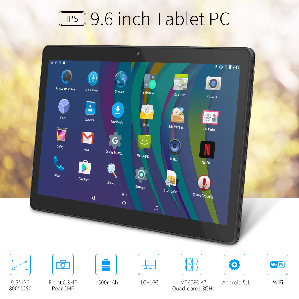 Yuntab K98 Android Tablet 1GB+16GB Quad-Core 9.6 inch IPS Screen 800*1280 Dual camera Cellphone Support 2G 3G Wifi Dual SIM Card yuntab 4g phablet h8 android 6 0 tablet pc quad core touch screen 1280 800 with dual camera and dual sim slots black