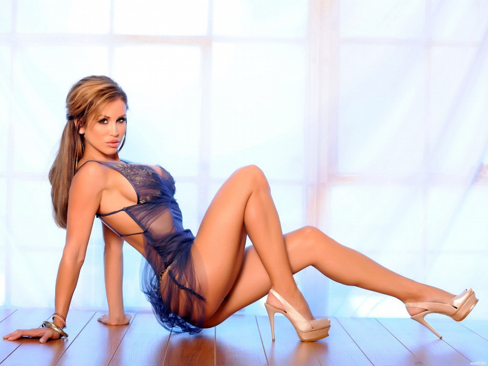 Sexy girl with mini skirt stock photo