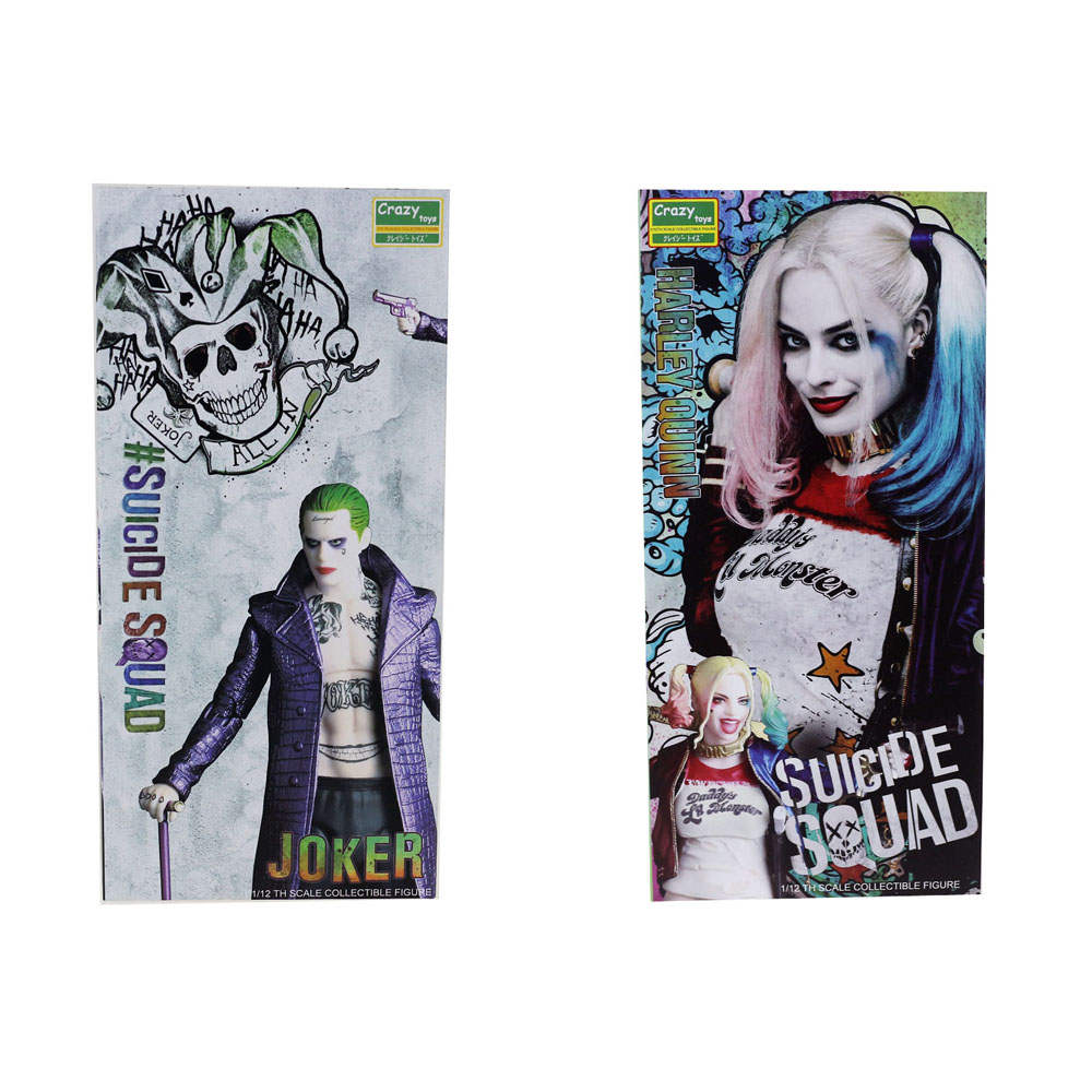 2pcs Lot Crazy Toys Suicide Squad Harley Quinn Joker 1/12TH Scale Collectible 17cm/7 Figure Free Shipping h 264 mini 1 0mp dome ip camera 720p cctv security onvif 12pcs ir indoor outdoor ir cut cam night vision p2p xmeye app view