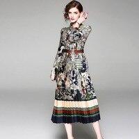 Woman Dress Vintage Print Midi Dresses Bow neck Full Sleeve Chiffon Ladies Elegant Dress Female Street Style Dresses Cheap Price