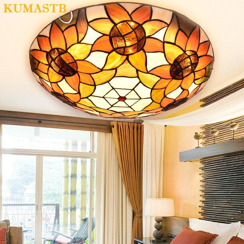 European Stained Glass Sunflowers Ceiling Lamp Bedroom Children Room Light Creative Dome Ceiling Light For Dinning Room