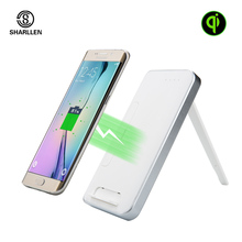Sharllen 10000mAh Holder Fast Power Bank With Qi Wireless Charger External Battery Portable Powerbank for Samsung Galaxy iPhone