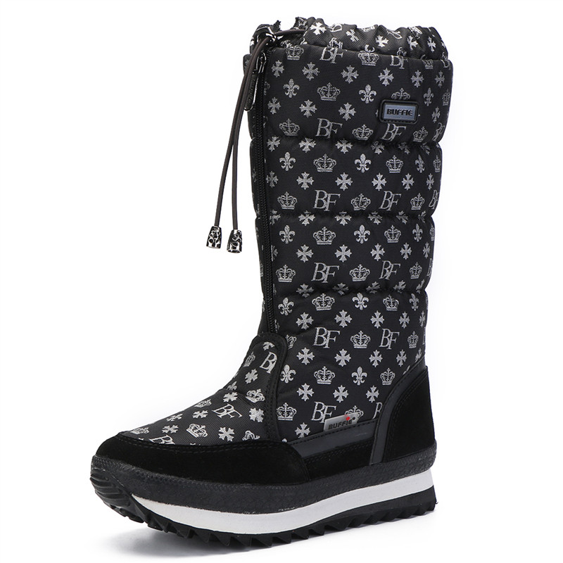 Women boots winter shoes women platform thick plush warm waterproof high snow boots botas mujer size 35-42