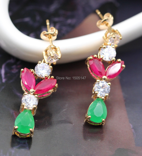 New Classic Style Imitation Ruby&Emerald Crystal Champagne Gold Plated Earrings