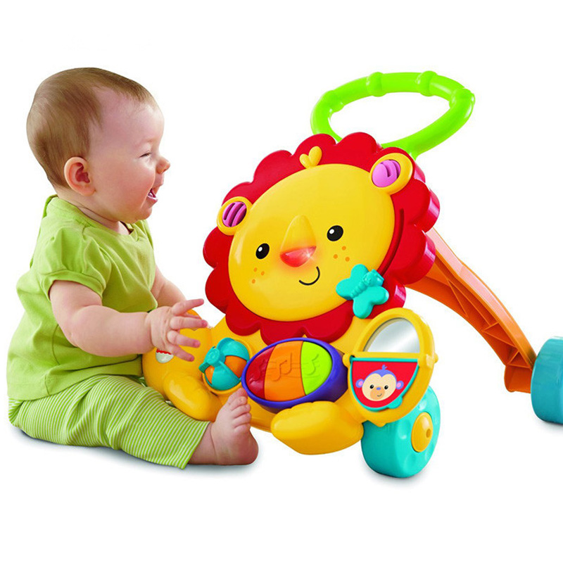 Multi-function Baby Walker Lion Car Helps Walk Learning Children Activity Musical Baby Walker Aith Wheels Adjustable Car musical 2 in 1 lion baby walker and can use as seat