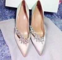 Fashion Pink Satin Wheat Ears Decor Women Pump Ladies Bling Rhinestone String Bead Pointed Toe Stiletto High Heels Bride Shoes