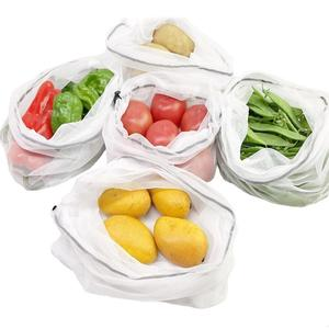 Image 4 - 5 팩 메쉬 가방 야채와 과일 그물 가방 폴리 에스터 메쉬 splicing 메쉬 가방 재사용 가능한 주방 스토리지 제품 주최자