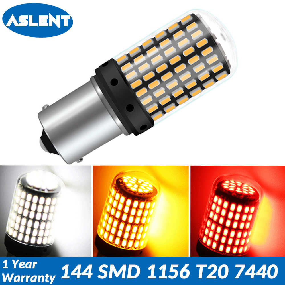 ASLENT 1pcs T20 7440 W21W LED Bulbs 144 smd led CanBus No Error 1156 BA15S P21W BAU15S PY21W lamp For Turn Signal Light No Flash