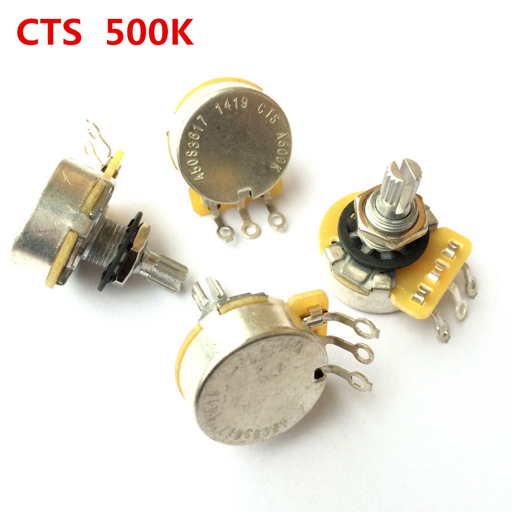 1Pcs CTS A500K L500K Guitar series 500K Metal Knurled Shaft Audio Potentiometers For Electric Guitar Bass 450S Pot