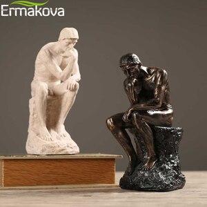 Image 3 - ERMAKOVA מופשט אמנות החושב פסל חשיבה של אתה צלמית טבעי אבן חול מלאכת פיסול מודרני בית משרד קישוט