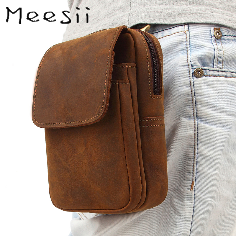 Meesii Vintage Men Genuine Leather Waist Bag Phone Bags For Belt Male Waist Pack For Card Holder Small Travel Pouch