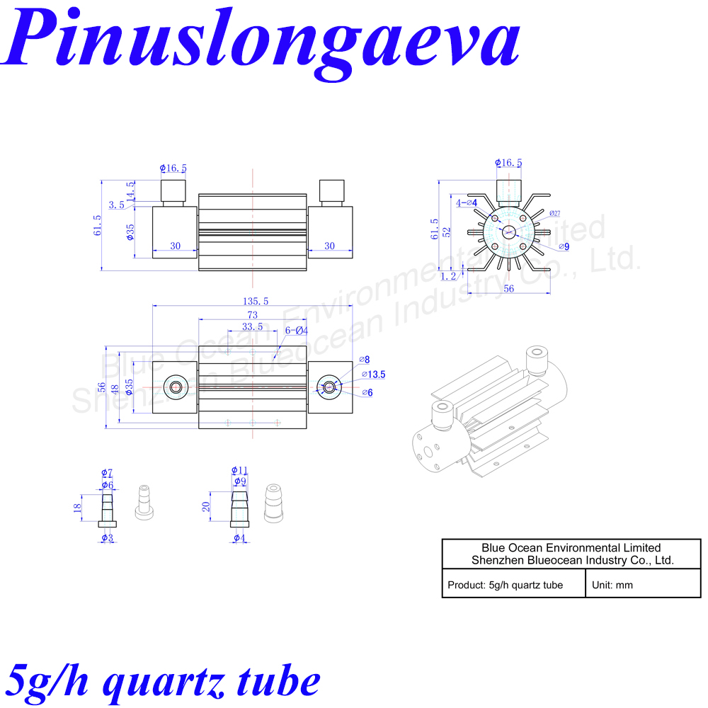 Pinuslongaeva CE EMC LVD FCC Factory outlet 5g/h Quartz tube type ozone adjustable ozonator Spa Bath water air disinfection