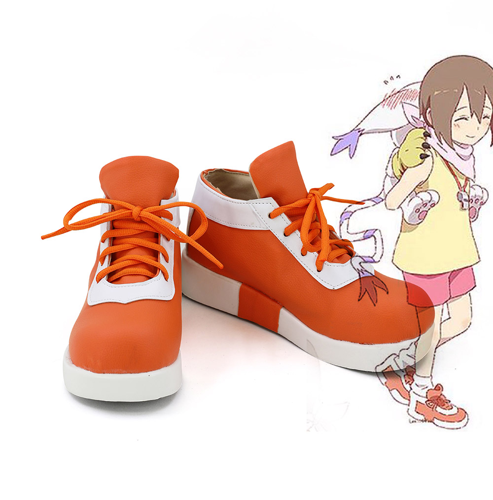 Digimon Adventure tri. Digital Monster Yagami Hikari Cosplay Shoes Orange Boots Custom Made image