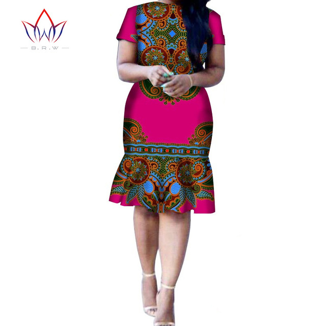 2016 Women Dress Style African Dresses For Custom Made Party Slim Fit Short Sleeve