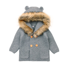AIYDRMK Winter Warm Newborn Baby Boys Sweater Fur Hood