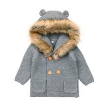 AIYDRMK Winter Warm Newborn Baby Boys Sweater Fur Hood