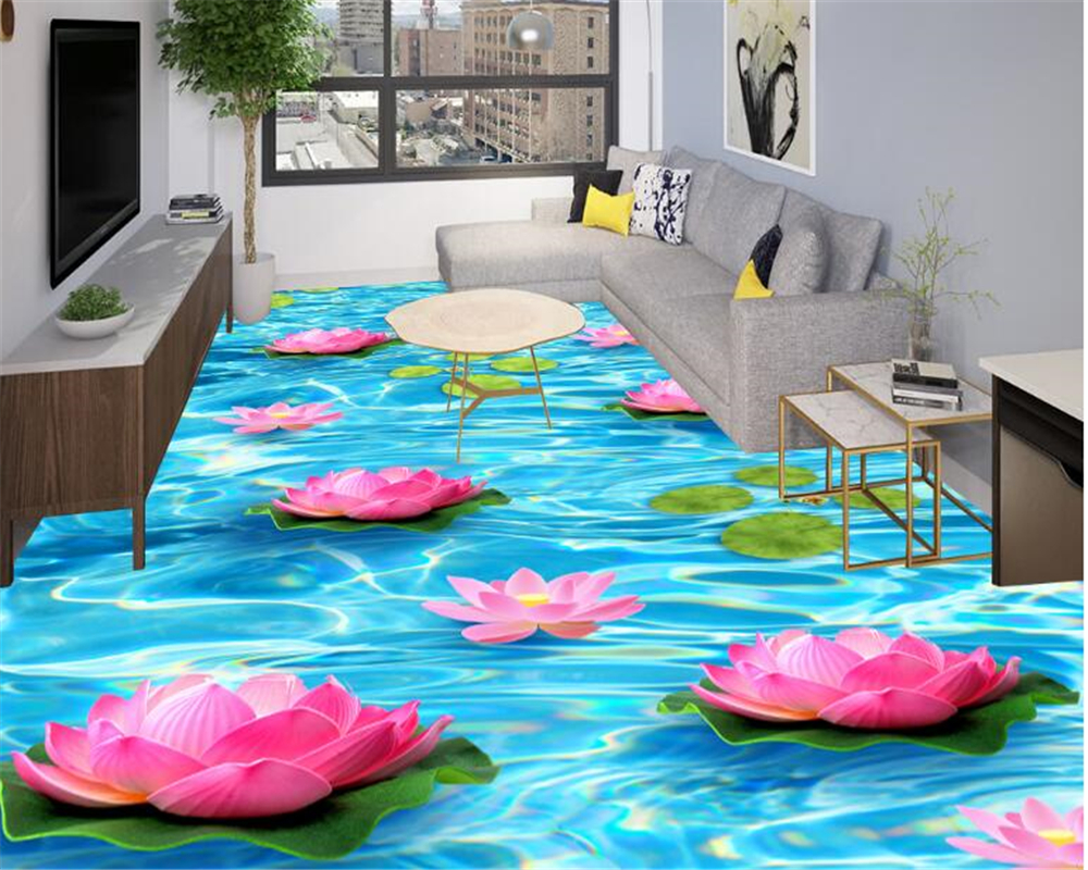 beibehang Fashion high quality personality aesthetic decorative painting wallpaper water lotus 3d flooring 3d wallpaper tapety