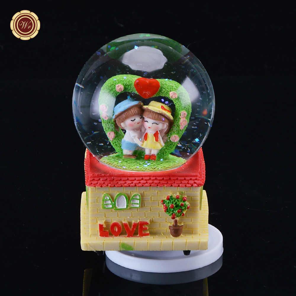 WR קריסטל שלג כדור מתנה לחתונה קריסטל כדור עם מגדל Creative צלמיות & מיניאטורות עבור בית תפאורה מתנה לחג המולד