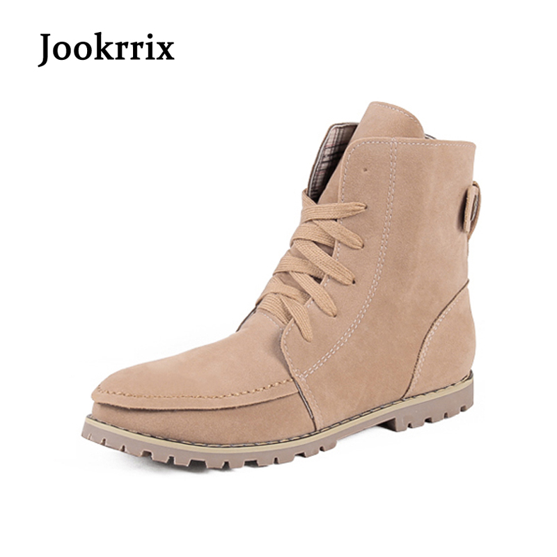 Jookrrix New Arrival Autumn Winter Ankle Boots Beige Shoes Women Ankle Boots Flock Black Fashion Lady Boots Crossed Tied Warm jookrrix autumn winter fashion women chelsea boots black lady shoe all match ankle boots female warm booties zipper low heel
