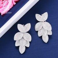SisCathy 27*49mm Luxury Big Leaves layers Cubic Zirconia Earring Dubai Wedding Engagement Dangle Drop Earrings For Women Jewelry