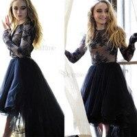 Robe De Soiree 2018 Long Elegant Black Long Sleeves Lace Arabic Evening Dress Plus Size Prom Dresses High Low Formal Dress 2018