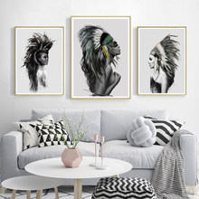 Black and White Indian Women Feather Abstract Canvas Art Print Painting Posters Wall Pictures For Living Room Home Decor