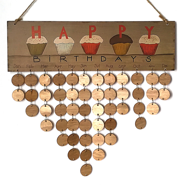 Diy Hanging Birthday Calendar : Aliexpress buy wooden anniversary calendar board diy