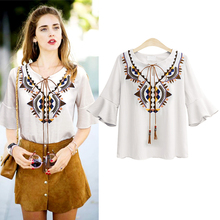 Summer New Korean women shirt tops Embroidery V-neck sleeves chiffon casual vintage plus size fasion 2019
