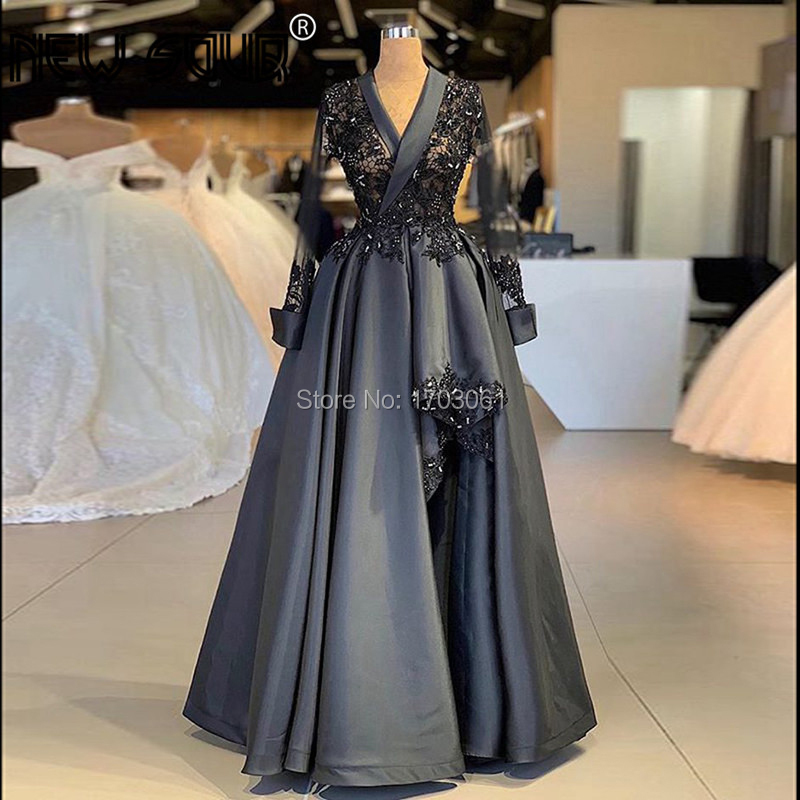 High Split Side Formal Black Prom   Dresses   Kaftans Muslim Dubai Long Sleeve   Evening     Dress   Robe de Soiree Arabic Party Gowns 2019