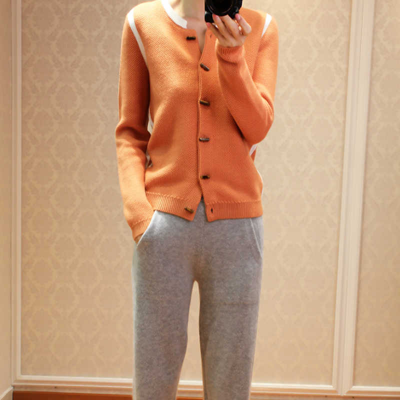 2019 весна осень новый круглый чистый кашемировый кардиган женский короткий параграф Цвет Модный вязаный свитер женский маленький пальто
