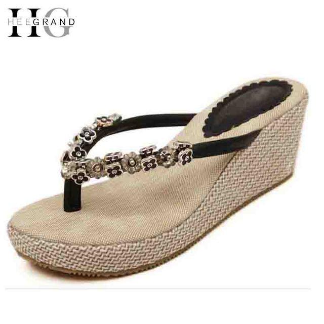 0303c44ee70a7 HEE GRAND Flip Flops Woman Summer Slippers Wedges Pumps Rhinestone Beading  Hemp Bohemia Beach Style Shoes Woman XWT300
