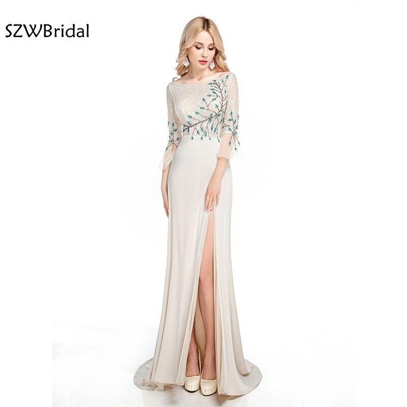 New Arrival High Neck Sequin Beading Evening dresses Long 2019 Vestidos de festa vestido festa Plus size Evening gowns