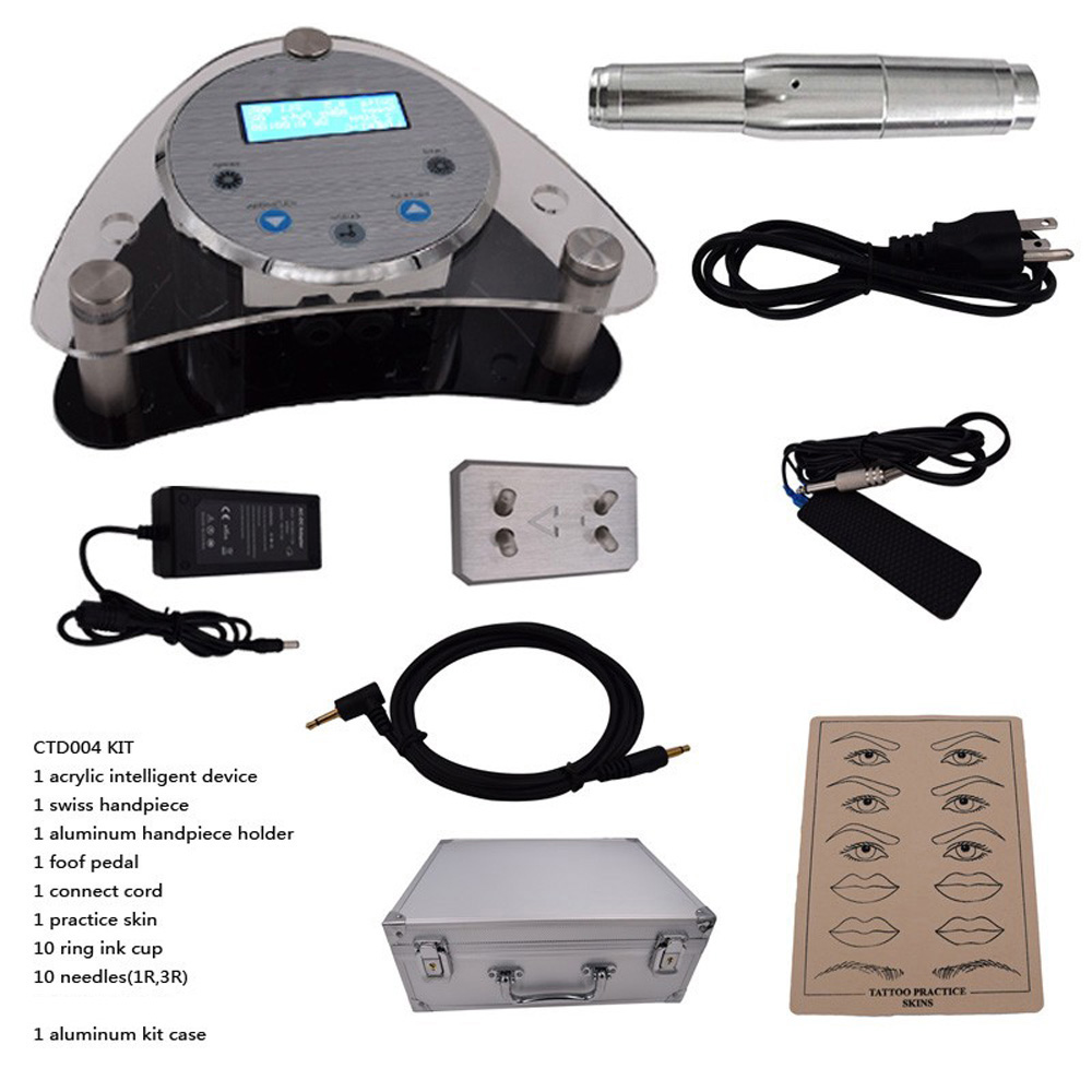 Complete Tattoo Kits Digital Intelligent Permanent Makeup eyebrow lip machine Kit Swiss Motor Gun + Power Supply + Needles hot sale digital permanent makeup pen machine high quality professional for eyebrow lip swiss motor tattoo gun