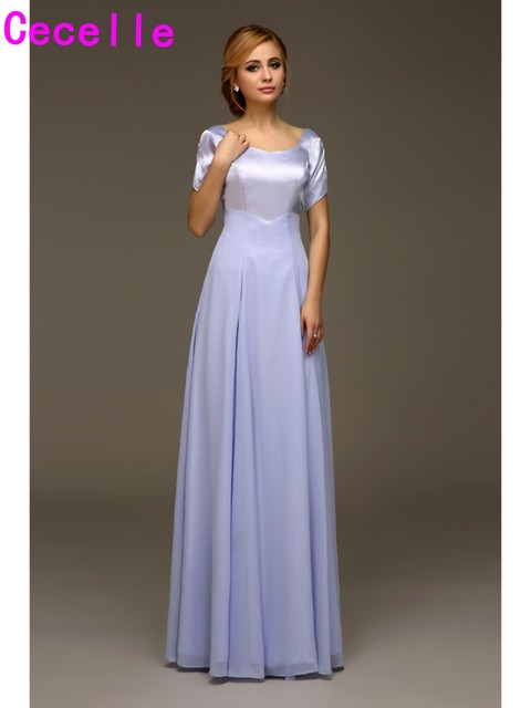 f8f8aa37928 Modest Long Bridesmaids Dresses With Short Sleeves Lavender Wedding Party Dresses  modest For Church Or Temple Wedding 2019