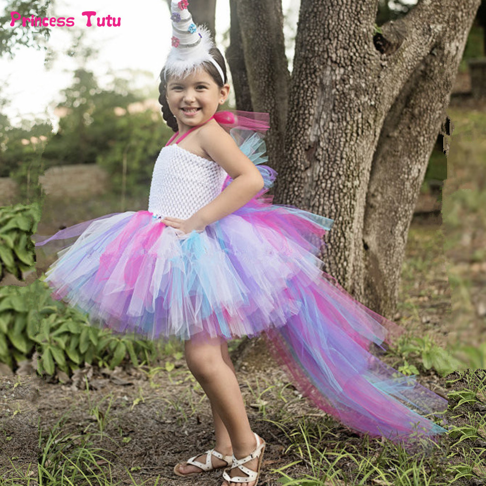 Multilayer Princess Pony Unicorn Tutu Dress Girls Rainbow Pageant Dress Ball Gown Kids Party Dresses for Girls Halloween Costume girls dresses trolls poppy cosplay costume dress for girl poppy dress streetwear halloween clothes kids fancy dresses trolls wig