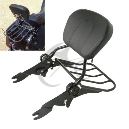 Motorcycle Adjustable Backrest Sissy Bar With Luggage Rack For Harley Touring Road Glide Road King Street