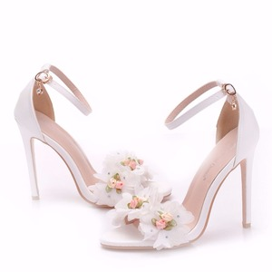 Image 5 - Crystal Queen Sweet white Flower Sexy Dress Wedding Shoes Women Lacing Ankle Strap Peep Toe High Heels Sandals Floral Shoes