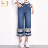 Leiji Джинсы для женщин 2018 Мода синий плюс Размеры L-6XL женские ботильоны Длина джинсы блестками кисточкой Широкие брюки уличная женские